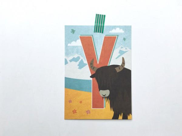 Postkarte Buchstabe Y von Monimari