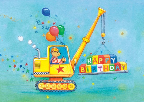 "Postkarte ""Happy Birthday"" Glitzer Bagger von Captain Card"