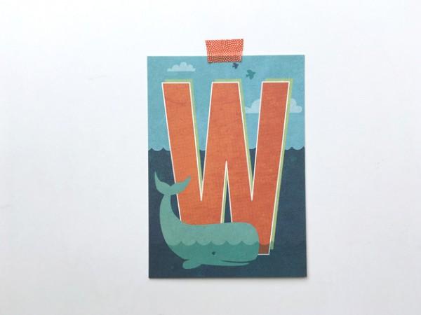 Postkarte Buchstabe W von Monimari