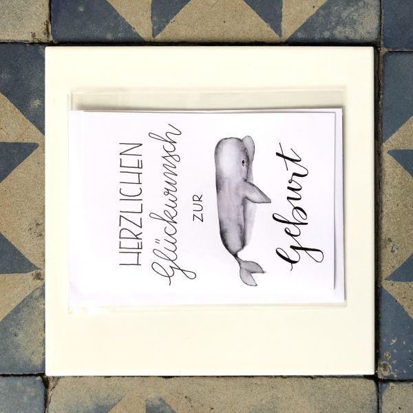 Klappkarte Herzlichen Glückwunsch Wal grau smilla cards