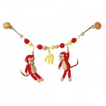 Sindibaba Kinderwagenkette mit Rassel gehäkelt Affen rot