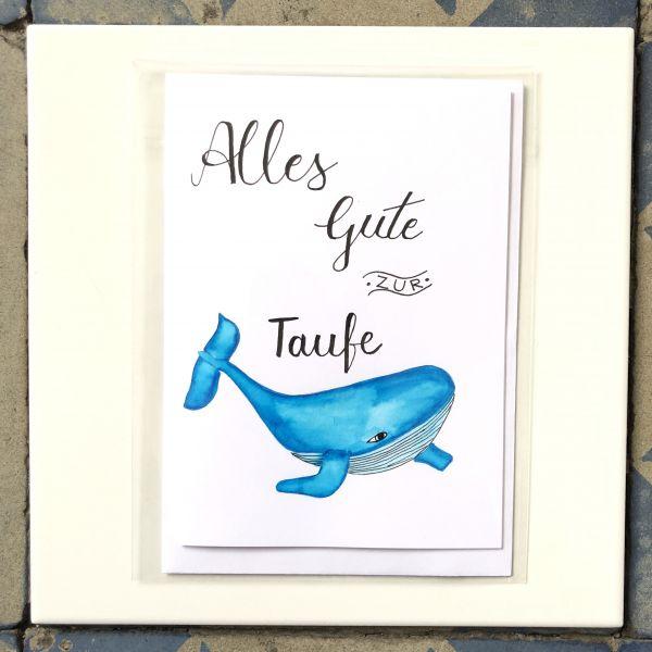 Klappkarte Alles Gute zur Taufe Wal smilla cards