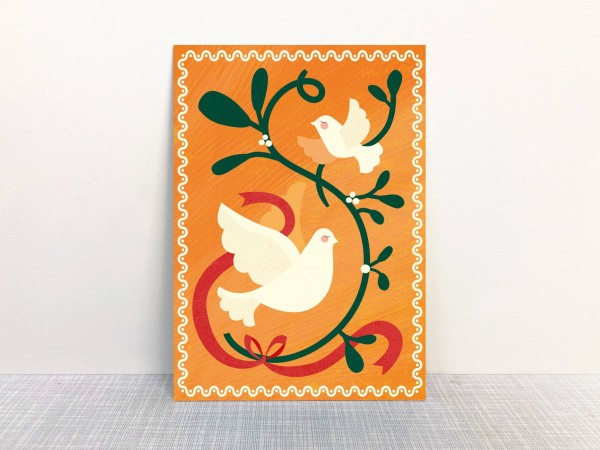 Weihnachtskarte Friedenstaube orange von Monimari