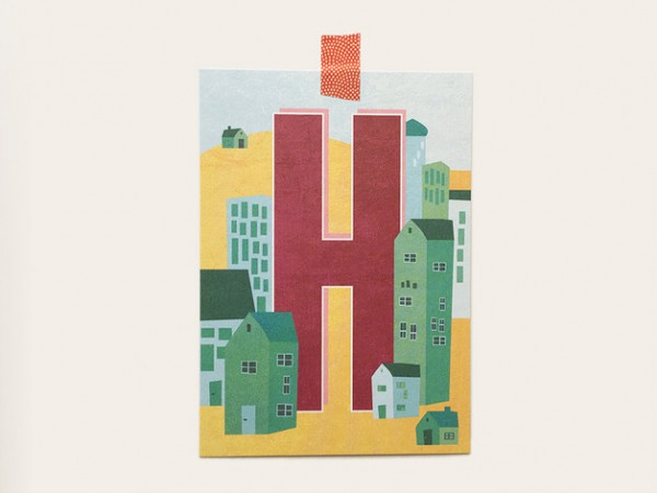 Postkarte Buchstabe H