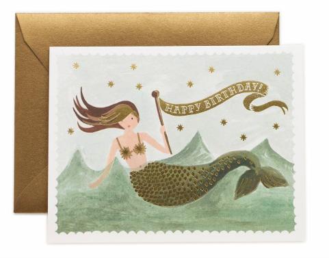 """Klappkarte """"Meerjungfrau - Happy Birthday"""" von RIFLE PAPER"""
