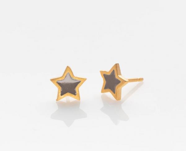 Stern Ohrringe golden/ grau von Prigipo