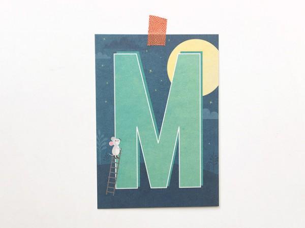Postkarte Buchstabe M