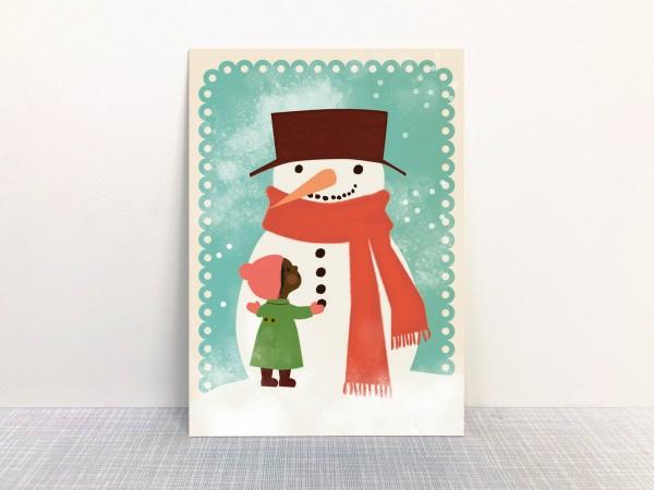 Weihnachtskarte Schneeman von Monimari