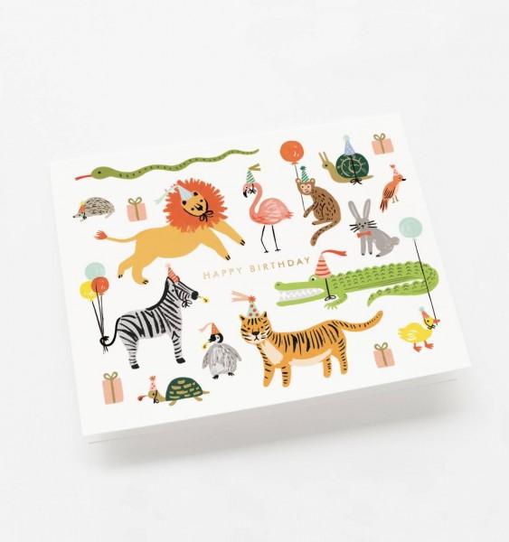 """Klappkarte """"Happy Birthday Tiere"""" von RIFLE PAPER"""