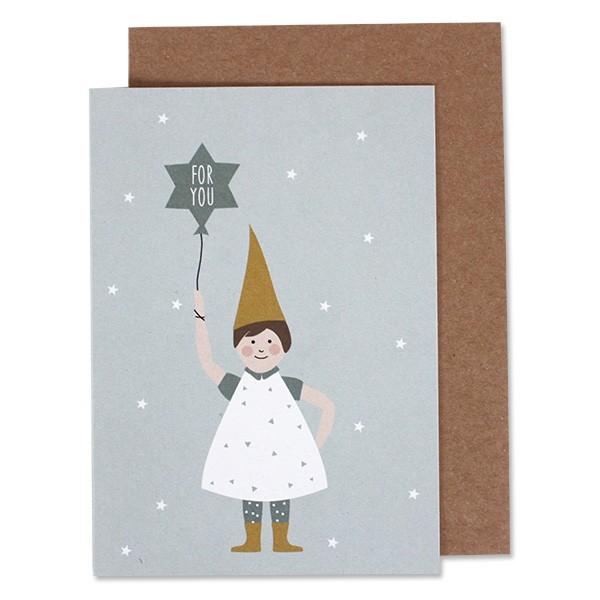 """Postkarte """"Weihnachtswichtel"""" blau von ava &yves"""