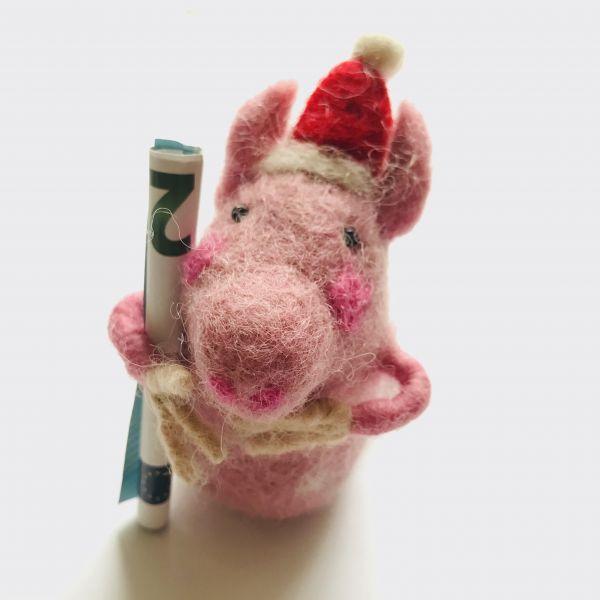 Filztier Schwein-Weihnachten für Geld oder Gutschein