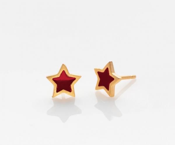 Stern Ohrringe golden/ rot von Prigipo