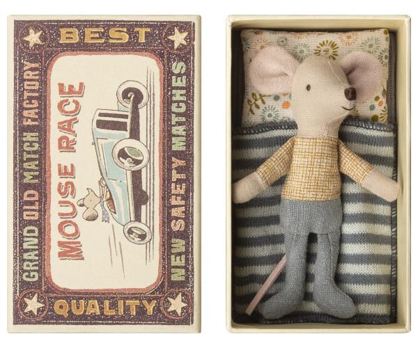 Little brother Mouse in box mit geblümten Kissen von Maileg