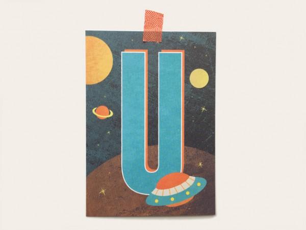 Postkarte Buchstabe U