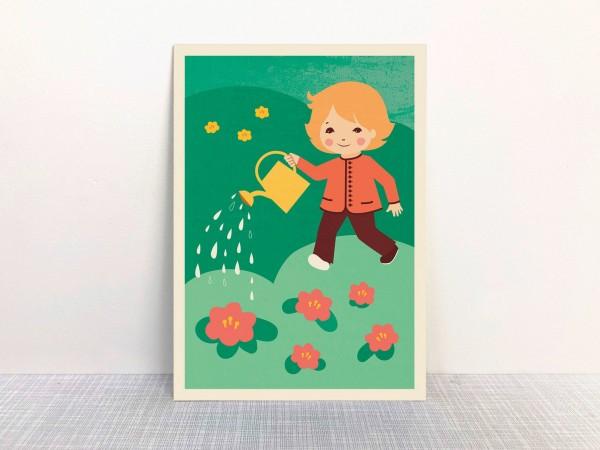 """""""Im Garten"""" Postkarte aus Recyclingpapier mit Ökofarbe von Monimari"""