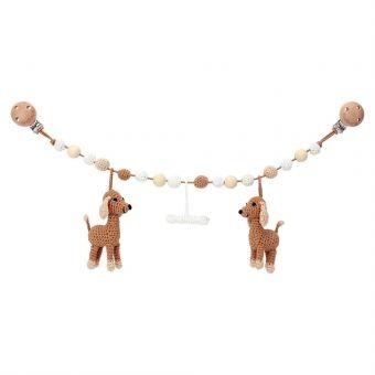 Gehäkelte Kinderwagenkette mit 2 Hund (braun) & Knochen
