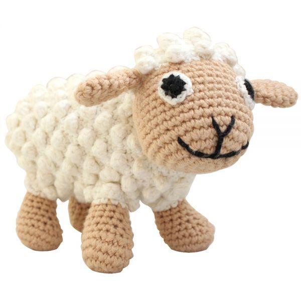 Sindibaba Stofftier mit Rassel Schaf weiß